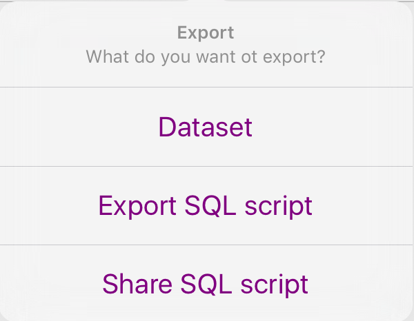 Export file dialog